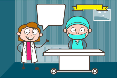 Cartoon Female Doctor Introducing to Surgeon Vector Illustration