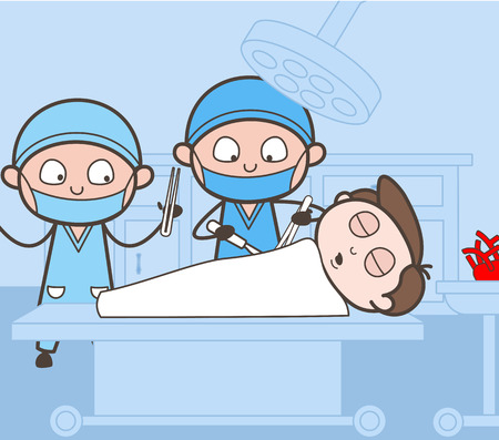 Surgeon Completing Operation Process Vector Concept Illustration