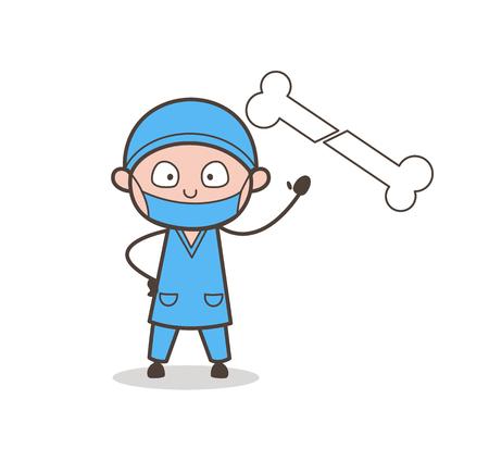 Surgeon Showing Broken Bone Vector Illustration Illustration