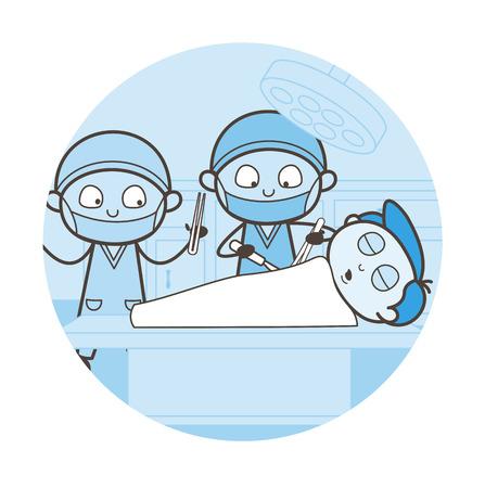 Surgeon Doing Heart Surgery Vector Concept
