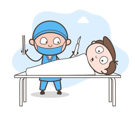 Paziente spaventato nell'operazione Illustrazione vettoriale del teatro