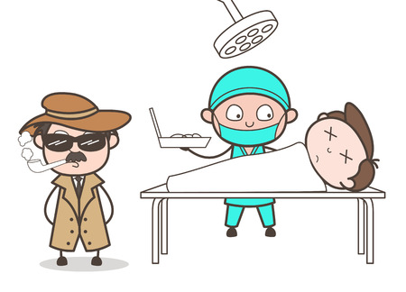 Cartoon Detective in Operation Theater to Get Some Clue Vector Concept