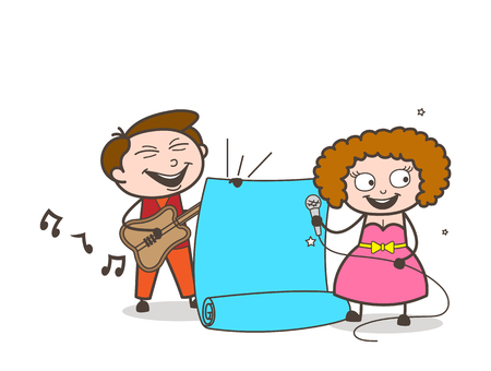 Cartoon young lady and a boy having a duet and smiling slightly.