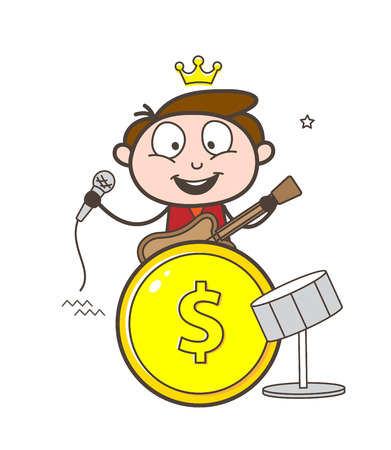 Rock-star guitarist with drums in a coin design