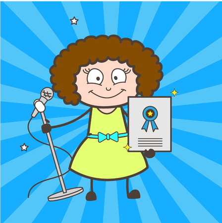 rapping: Cartoon female pop-singer showing award certificate vector Illustration