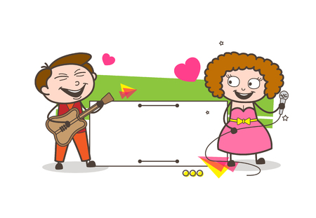 Cartoon male and female singing and playing guitar with editable banner on the background