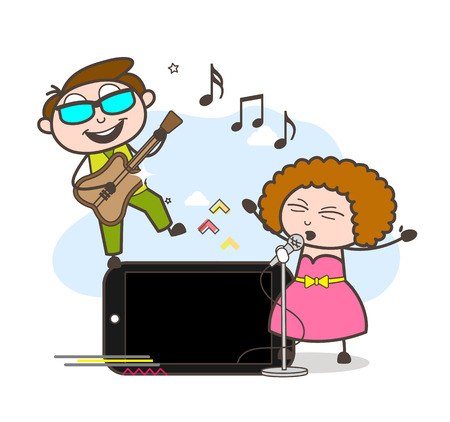 A boy with sunglasses holding a guitar and a girl in front of a microphone  having a duet.