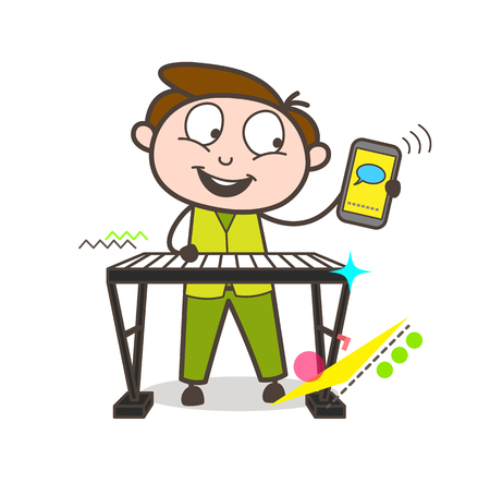 A young man playing a keyboard and holding a cellphone. Vector Illustration