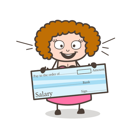Cartoon lady holding a check.
