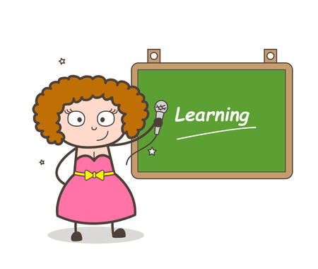 A cartoon girl pointing a microphone on a green board with learning text.