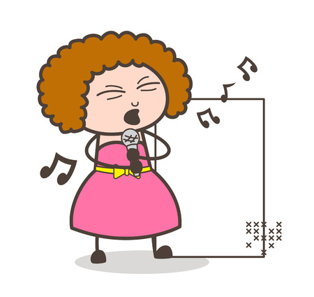 A girl with a curly hair in a pink dress holding a microphone while singing.