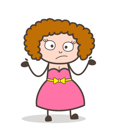 Cartoon adult woman wondering face expression vector.