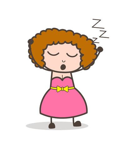 Cartoon adult woman yawning and in a sleeping face expression.