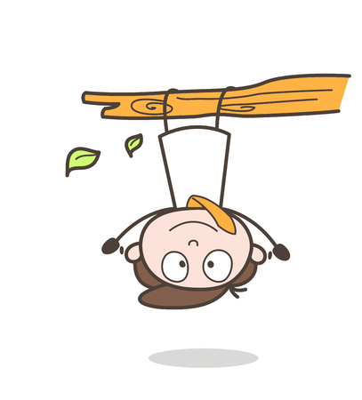 Funny Cartoon Businessman Hanging Upside Down on Branch Vector