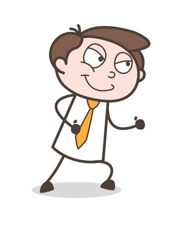 Cartoon Man Cunning Smiling Face Vector Illustration