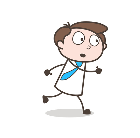 Young Man Running Pose Vector Illustration