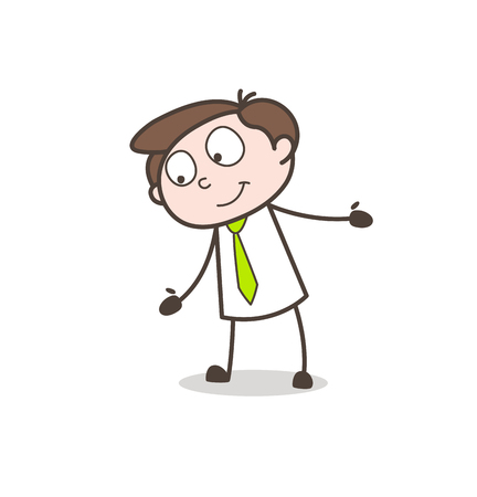 planning: Cartoon Young Boy in Cool Mood Vector Illustration