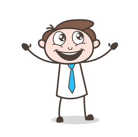 Excited Cartoon Seller Face Expression Vector Illustration