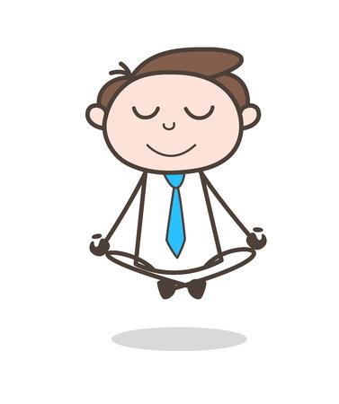 Calm Cartoon Businessman Doing Yoga Vector Fitness Concept Ilustração