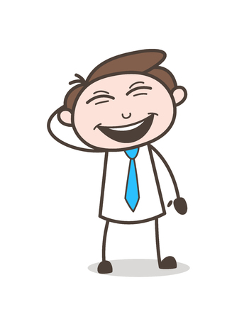 planning: Funny Young Boy Laughing Loudly Vector Illustration Illustration