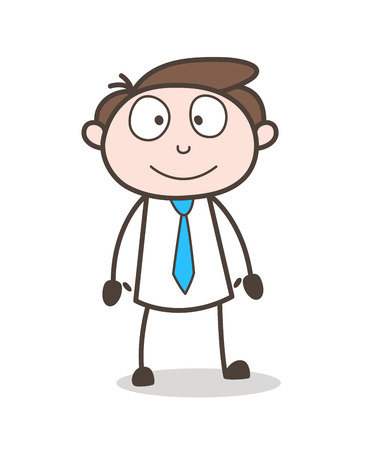 cartoon happy officer standing pose Illustration