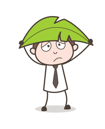 Cartoon Young Man Holding a Leaf for Safety Vector Illustration