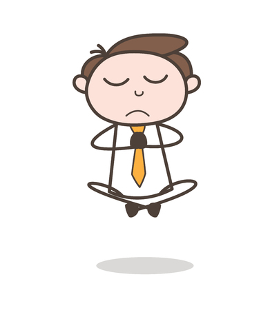 Young Insurance Agent Doing Yoga Vector Illustration