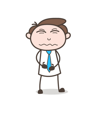 Cartoon Young Employee Confounded Face Expression Vector