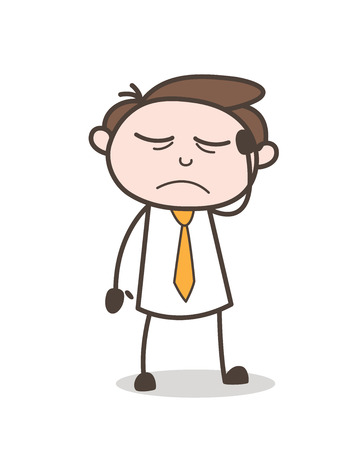 planning: Emotional Cartoon Businessman Sad Face Expression Vector