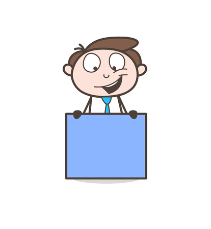 Cartoon Business Guy with Banner Board Vector
