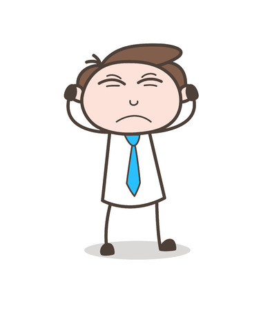 Angry Young Businessman Putting Hands on Ears Vector
