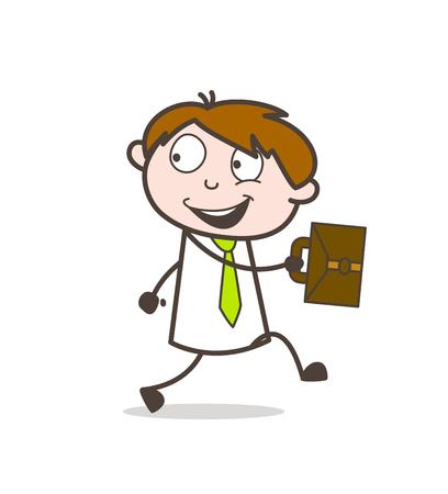 행복한 사무실 사람은 사무실에 간다.