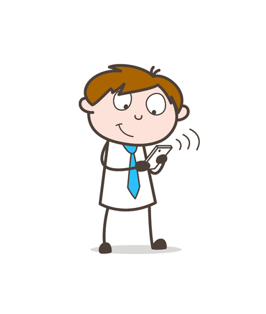 Cartoon boy using mobile phone