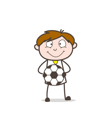 Cartoon Sportsman with Football