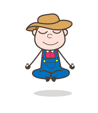 Comic Farmer Character Doing Meditation Vector Vectores