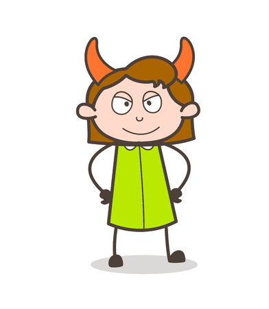 Smiling Devil Girl Face with Horns Vector
