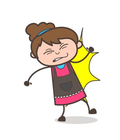 Got Hurt by Bumped - Beautician Girl Artist Cartoon Vector Illustration