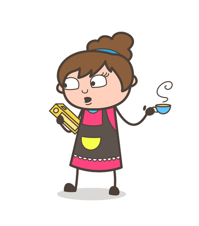 woman make up: Reading Book with Hot Tea in Breaktime - Beautician Girl Artist Cartoon Vector