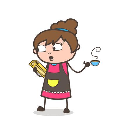 Reading Book with Hot Tea in Breaktime - Beautician Girl Artist Cartoon Vector