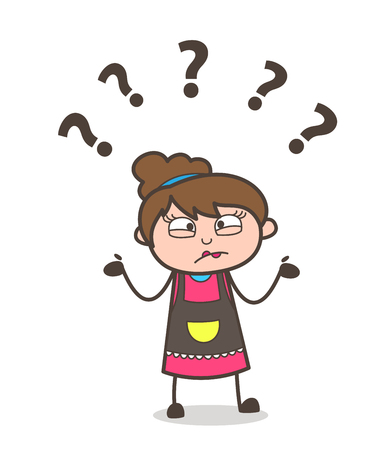 Confused Expression - Beautician Girl Artist Cartoon Vector