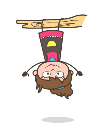 upside: Hanging Upside Down - Beautician Girl Artist Cartoon Vector Illustration