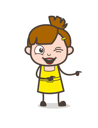 Naughty Kid Winking Eye and Pointing Finger - Cute Cartoon Girl Vector