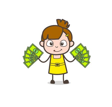smart girl: Earn Money Concept - Cute Cartoon Girl Vector Illustration