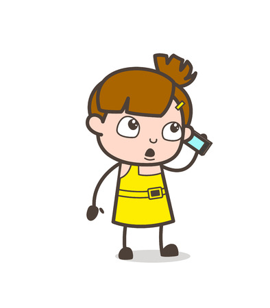 smart girl: Discussion on Mobile - Cute Cartoon Girl Vector