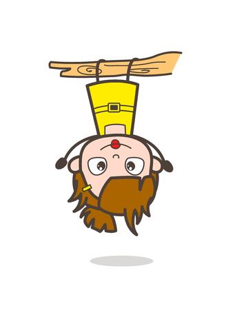 upside: Naughty Kid Hanging Upside Down - Cute Cartoon Girl Vector