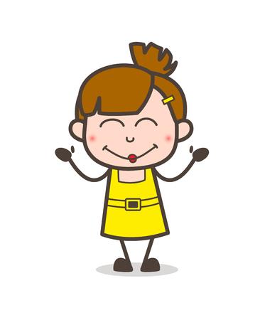 Smiling Kid Shy Face - Cute Cartoon Girl Vector Illustration