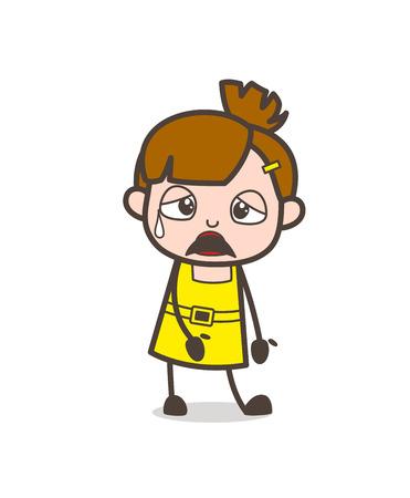 얼굴에 땀을 흘리는 좌절 된 얼굴 - 귀여운 만화 소녀 벡터