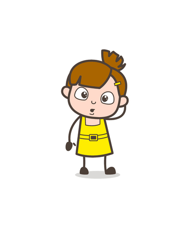 Surprised Kid Expression - Cute Cartoon Girl Vector