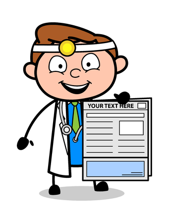 Cartoon Doctor Showing a Report Vector Illustration
