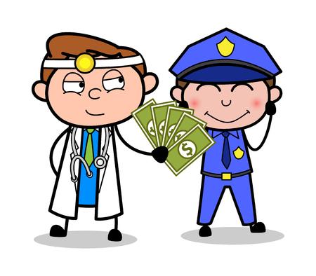 Docteur en dessin animé donnant un pot-de-vin à un concept de vecteur de policier Vecteurs